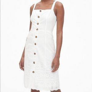 NWT! GAP white eyelet button down midi dress